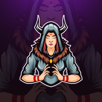Illustration du logo mascotte sorcière à cornes