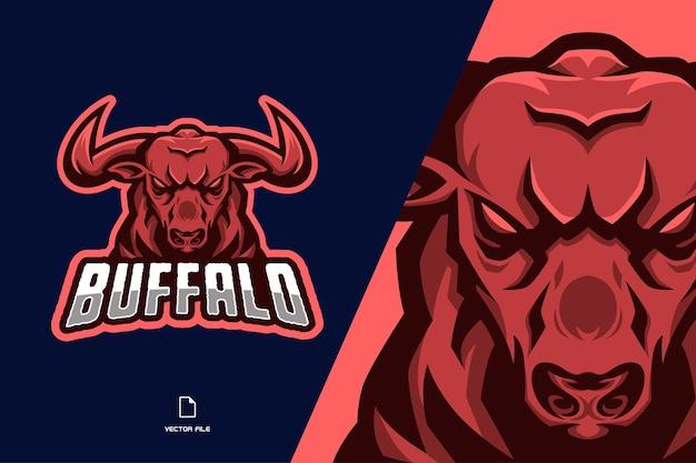 Illustration du logo mascotte taureau en colère