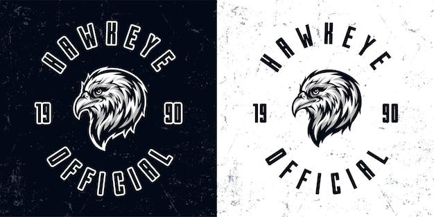 Illustration du logo mascotte tête d'aigle monochrome vintage