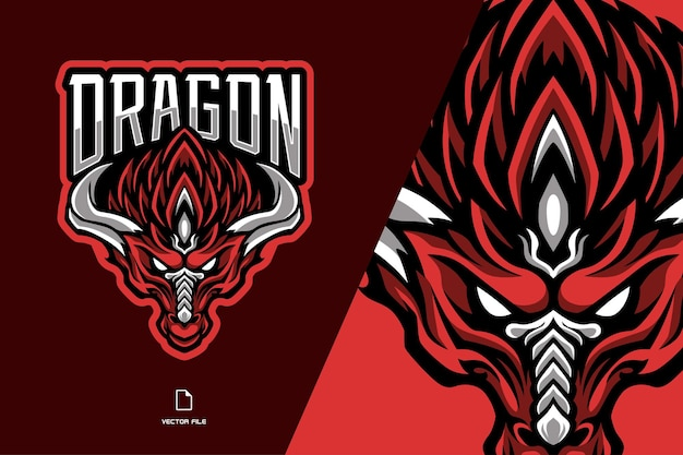 Illustration du logo mascotte tête de dragon rouge