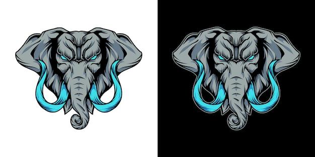 Illustration du logo mascotte tête d'éléphant