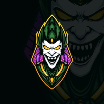 Illustration du logo mascotte tête de gobelin vert