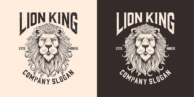 Illustration du logo mascotte tête de lion