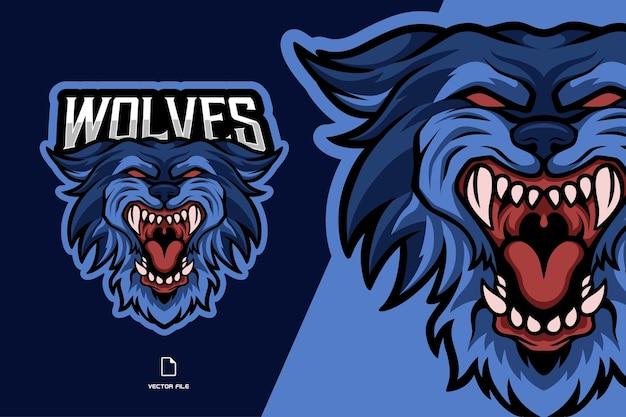 Illustration du logo mascotte tête de loup bleu en colère