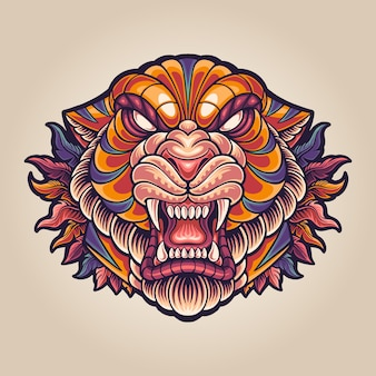 Illustration du logo de la mascotte de tigre totem