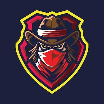 Illustration du logo rouge écharpe bandit esport