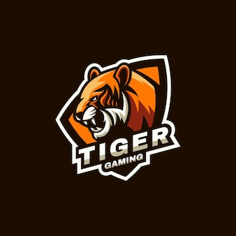 Illustration du logo sports de tigre et style e-sport.