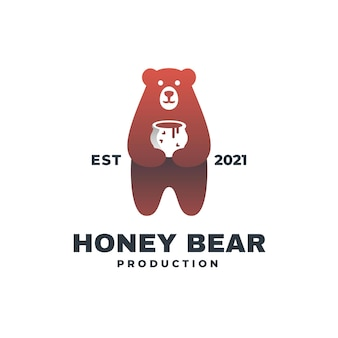 Illustration du logo style d'insigne de couleur ours miel.