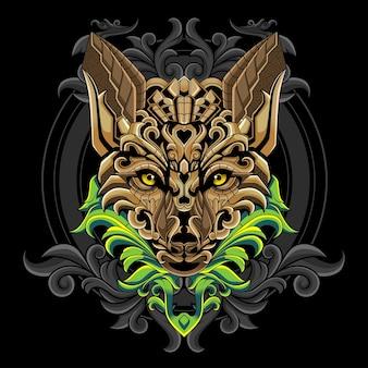 Illustration du logo tête de loup doré