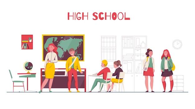 Illustration Du Lycée Vecteur gratuit