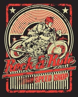 Illustration du magasin de vitesse rock and ride