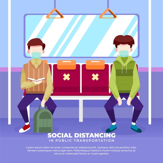Illustration du maintien de la distanciation sociale dans les transports publics