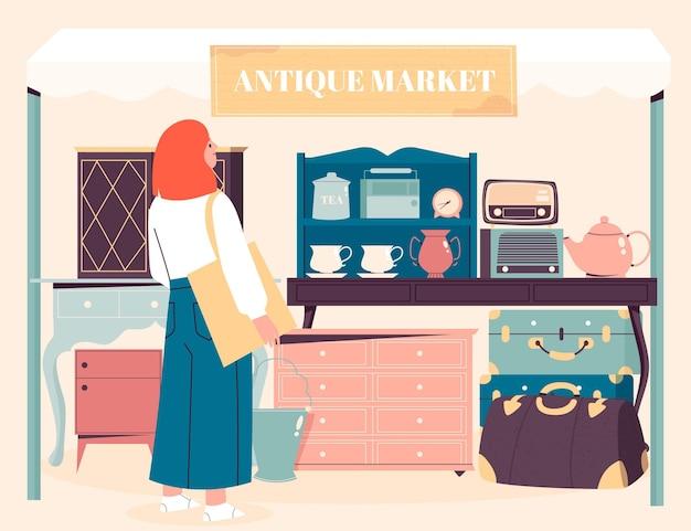 Illustration du marché d'antiquités avec des objets anciens