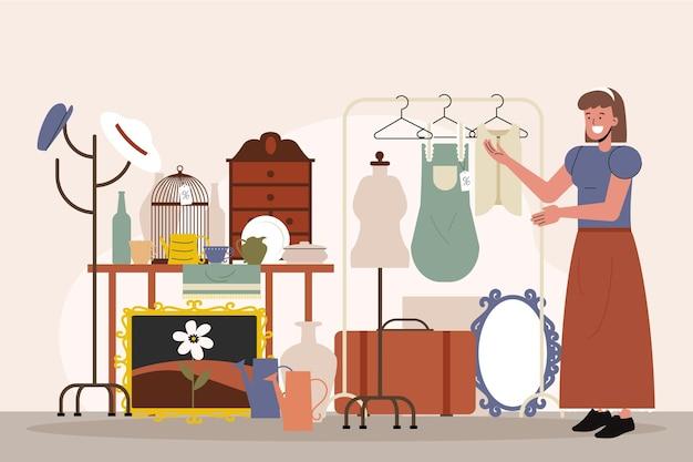 Illustration du marché d'antiquités plat avec différents objets