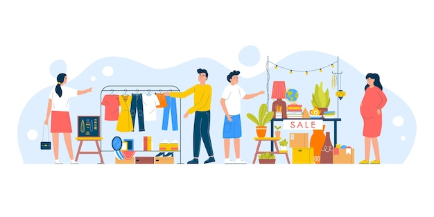 Illustration du marché aux puces dessiné à la main
