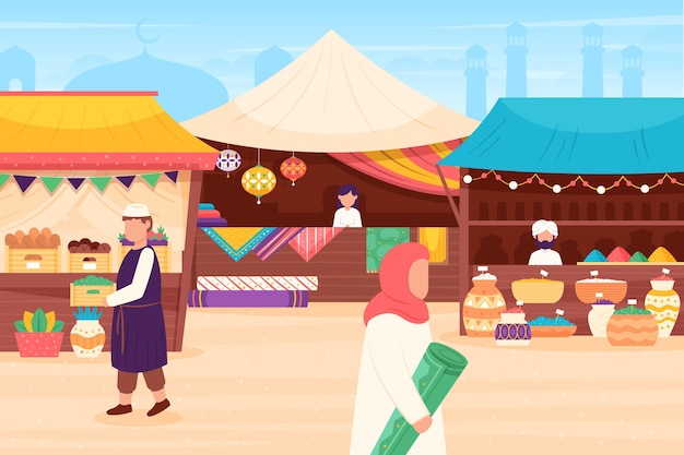 Illustration du marché du bazar arabe