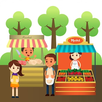 Illustration du marché traditionnel