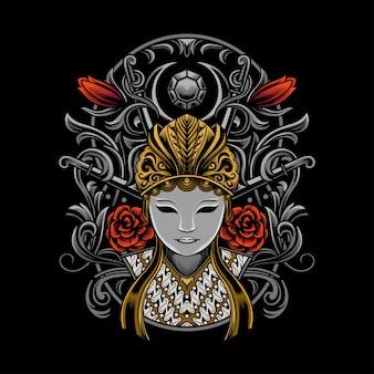 Illustration du masque de culture japonaise avec ornement détaillé