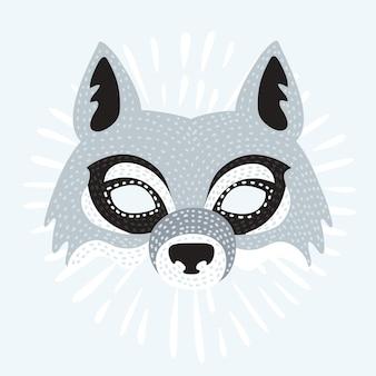 Illustration du masque du loup de dessin animé