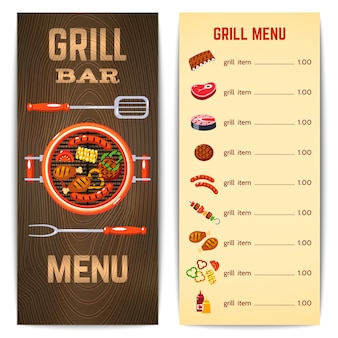 Illustration du menu grill