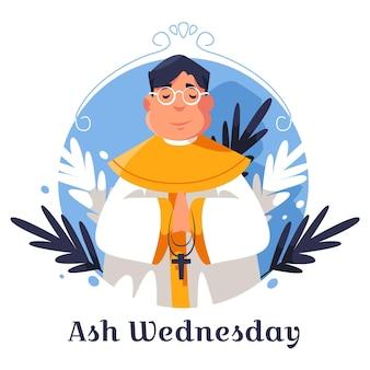 Illustration du mercredi des cendres design plat