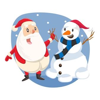 Illustration du mignon père noël debout avec bonhomme de neige.