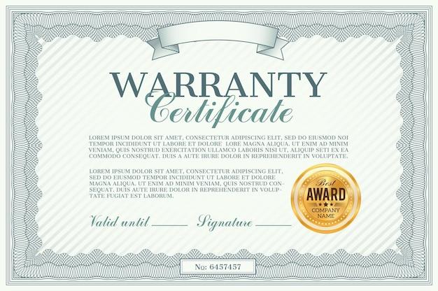 Illustration du modèle de certificat de garantie