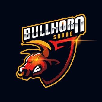 Illustration du modèle de conception de logo esport visage en colère de taureau