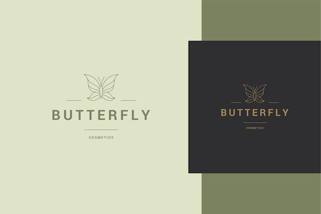 Illustration du modèle de logo linéaire élégant de papillon minimal sur bannière