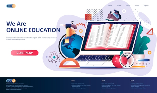 Illustration du modèle de page de destination de l'éducation en ligne