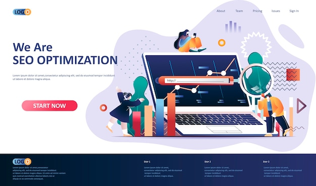 Illustration du modèle de page de destination d'optimisation seo