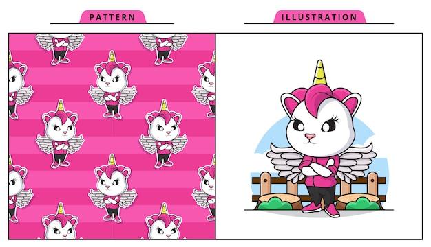 Illustration du modèle sans couture adorable licorne