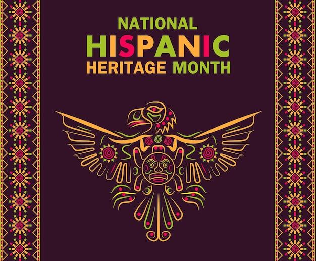 Illustration du mois du patrimoine hispanique national latino-américain ornement de poncho avec aigle coloré
