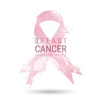 Illustration du mois de sensibilisation au cancer du sein à l'aquarelle