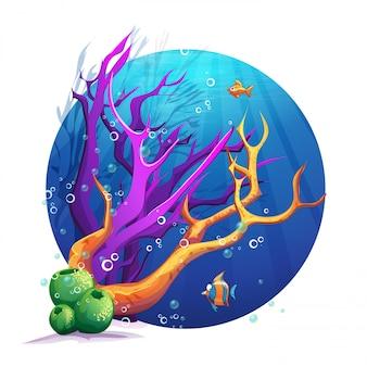 Illustration du monde sous-marin avec des coraux et des poissons amusants