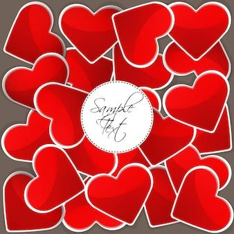 Illustration du motif avec des coeurs rouges