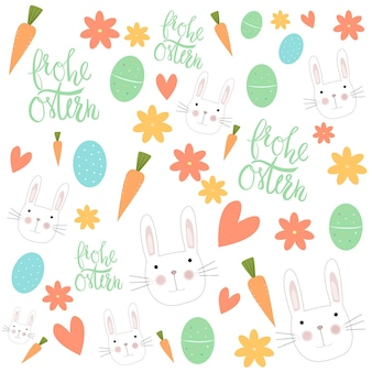Illustration du motif coloré de pâques avec des lapins
