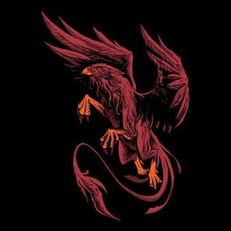 Illustration du mythe du griffon rouge