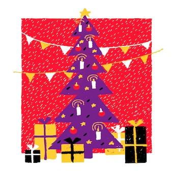 Illustration du nouvel an dans un arbre de noël décoré de style naïf avec des cadeaux