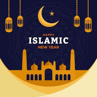 Illustration du nouvel an islamique plat