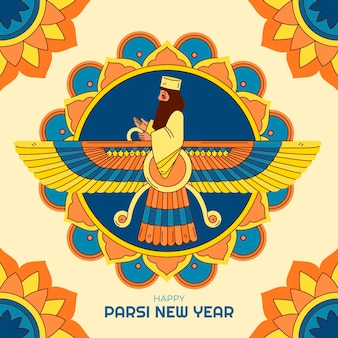 Illustration du nouvel an parsi dessiné à la main