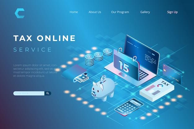 Illustration du paiement des impôts en ligne avec le concept de pages de destination isométriques et d'en-têtes web