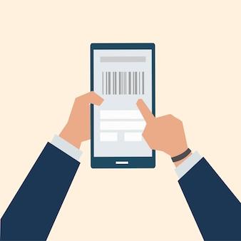 Illustration du paiement en ligne de codes à barres