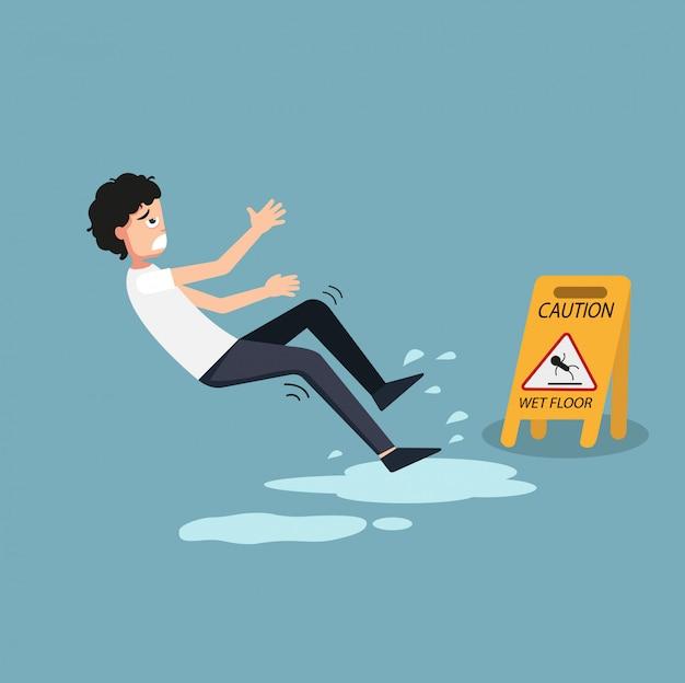 Illustration du panneau d'avertissement sol humide isolé. danger de glisser