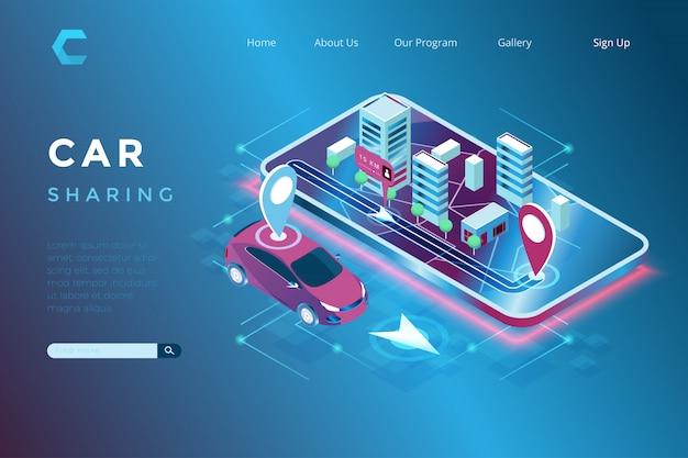 Illustration du partage de voiture et de la localisation iot intégrée dans un style 3d isométrique