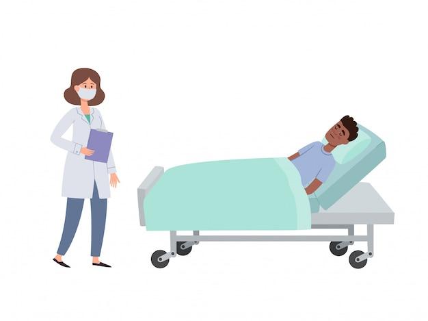 Illustration du patient et du médecin dans un masque protecteur