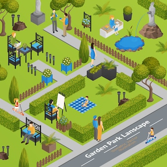 Illustration du paysage du parc du jardin