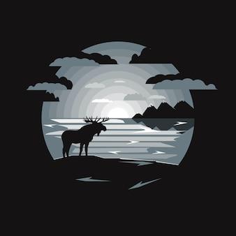 Illustration du paysage avec le wapiti et le lac au clair de lune.
