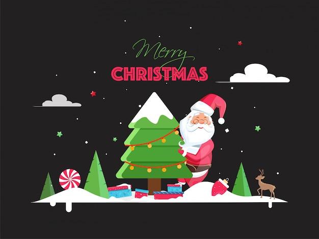 Illustration du père noël avec arbre de noël décoratif, boîte-cadeau, renne et neige sur fond noir pour la fête de joyeux noël.