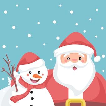 Illustration du père noël et bonhomme de neige embrassé